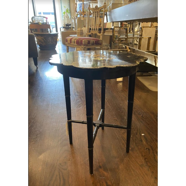 1930s Small Chinoiserie Side Table or Stool Black Faux Bamboo Legs For Sale - Image 5 of 7