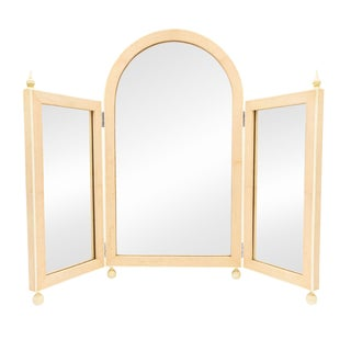 French Art Deco Pink Shagreen Triptych Table Mirrors For Sale