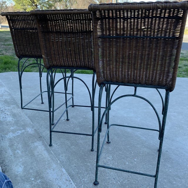 Vintage Wicker & Iron Bar Stools - Set of 3 For Sale In Richmond - Image 6 of 12