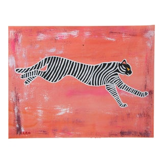 Abstract Chinoiserie Tiger Painting by Cleo Plowden For Sale