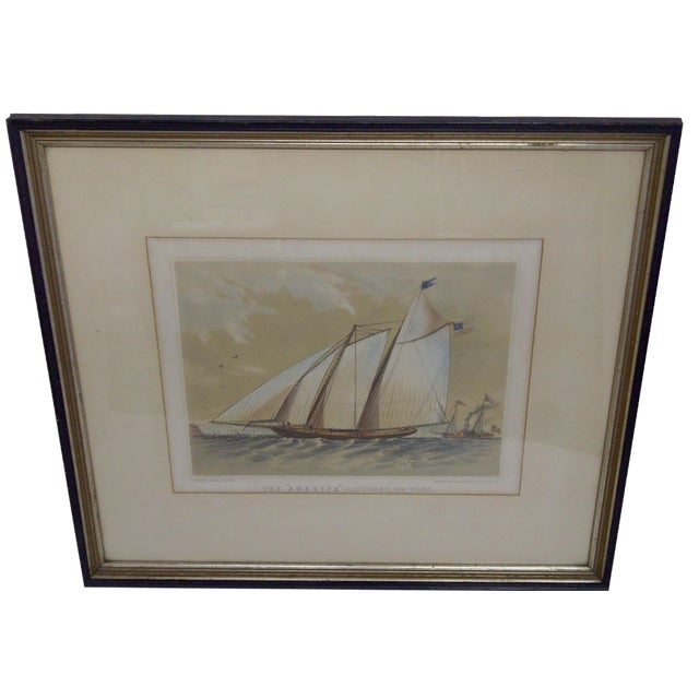 The American Schooner Print, 1850 For Sale