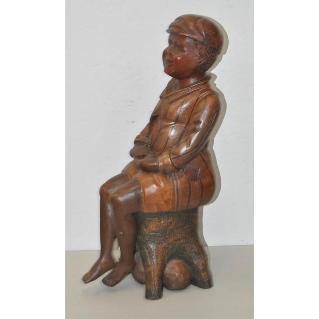19th Century American Folk Art Hand Carved Seated Boy - Image 5 of 5