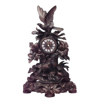 Rustic Black Forest 19th Century Carved Walnut Mantel Clock For Sale