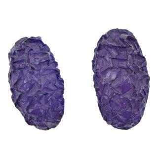 Oversized Italian Purple Rock Lucite Resin Clip on Earrings For Sale