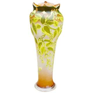 """Monumental 31"""" Emile Galle Art Nouveau Floor Vase, 1905 For Sale"""