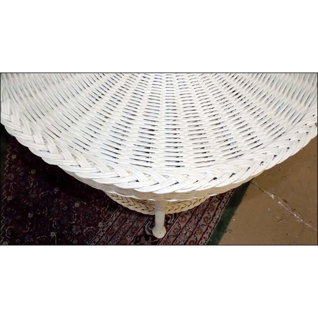 Victorian Vintage White Wicker Round Table For Sale - Image 3 of 7