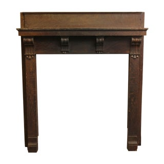 Quarter Sawn Oak Mantel With Corbel Detail For Sale