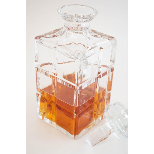 Hollywood Regency Square Cut Crystal Whiskey Decanter W/Stopper For Sale - Image 3 of 9