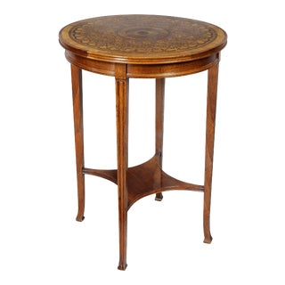 Edwardian Parquetry Inlaid Occasional Table For Sale