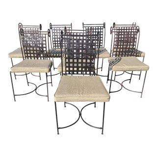 Iron Hollywood Regency Iron Dining Chairs - Set of 8
