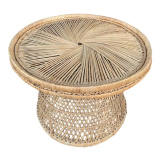 Round Twisted Pattern Rattan Side Table For Sale