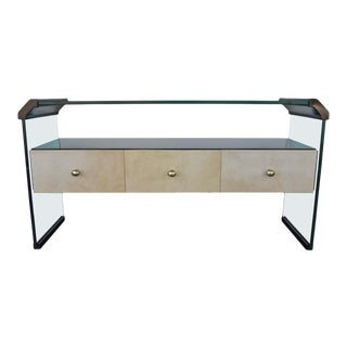 1970s Italian Black Lacquer Console With Parchment For Sale