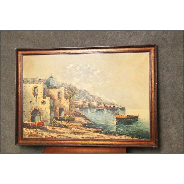 Vintage Impressionist Oil Painting of European Seascape - Image 2 of 11