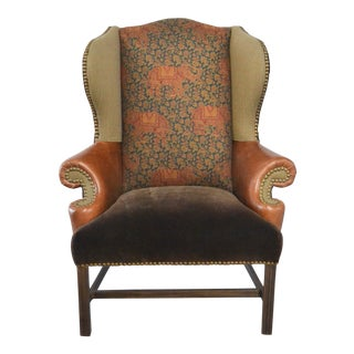 Modern Scalamandre Elephant Fabric Wingback Chair For Sale