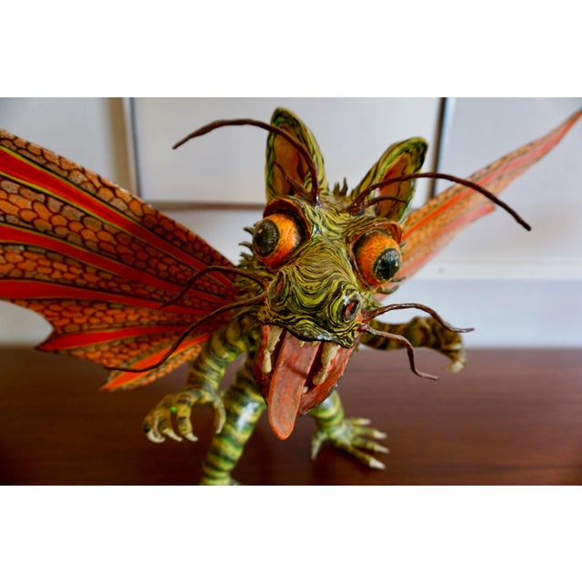 "Orange Fantastical Creature ""Alebrijes"" by Felipe Linares For Sale - Image 8 of 9"