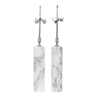 Square Marble Lamps by T H Robsjohn-Gibbings, a Pair For Sale