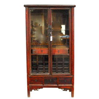 Chinese Ming Style Red Lacquer Tapered Wine Cabinet