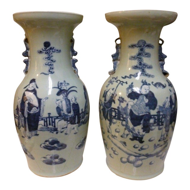 19th Century Qing Chinese Blue & White on Celadon Ground Vases - a Pair For Sale