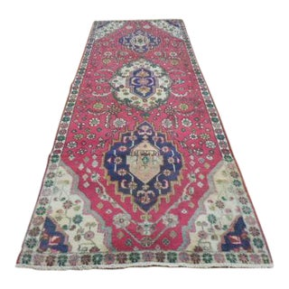 Gorgeous 1930s Persian Heriz Pink and Navy Wool 3'x8' Runner Rug For Sale