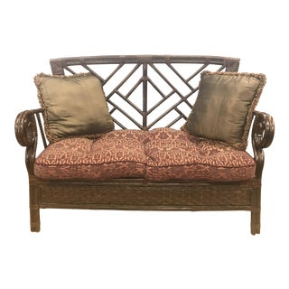 Bamboo Rattan Chippendale Style Settee For Sale