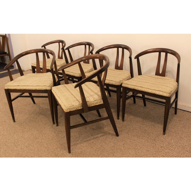 Curved-Back Walnut Dining Chairs - Set of 6 - Image 3 of 11