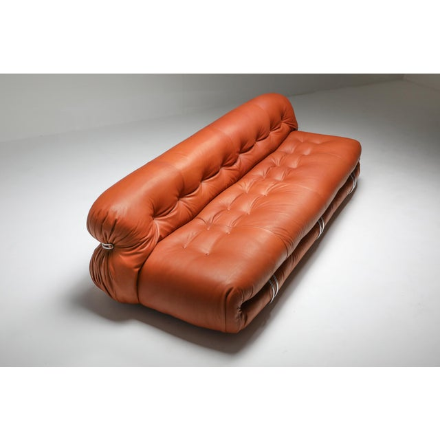 Metal 1970s Cassina Soriana Cognac Leather Sofa by Afra and Tobia Scarpa For Sale - Image 7 of 11