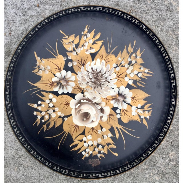 Vintage Hand-Painted Greek Key Pierced Gold Roses Tole Tray For Sale In Savannah - Image 6 of 6