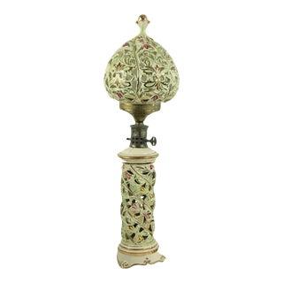 Vintage Paul Hanson Asian Porcelain Ceramic Hand Painted Table Lamp Light Globe For Sale