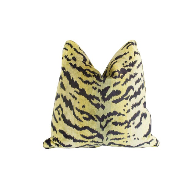Tigre Pillow, Greens & Black For Sale