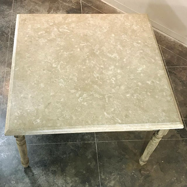 Wood 19th Century French Rustic Limestone Top Game Table - Center Table For Sale - Image 7 of 12