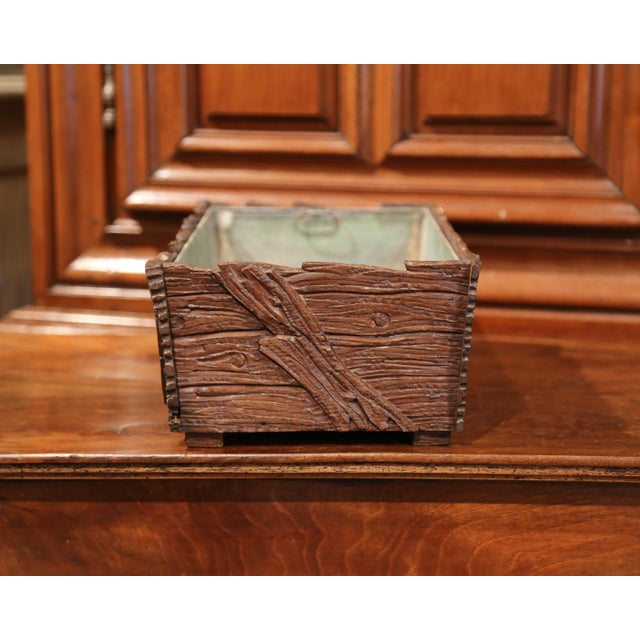 19th Century French Black Forest Carved Walnut Jardiniere With Zinc Liner For Sale In Dallas - Image 6 of 9