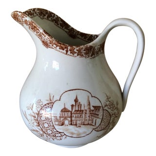 Vintage English Brown & White Pitcher For Sale