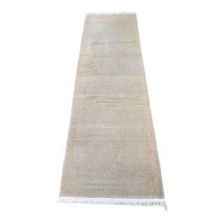 "Odegarde Nima Tashi-S Tibetan Cream Wool and Silk ""Twig"" Pattern Runner Rug - 3′ × 10′2″ For Sale"