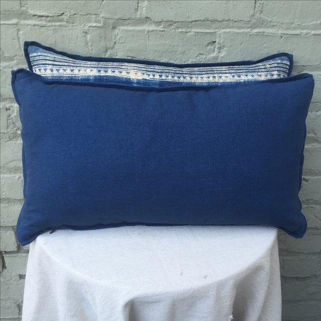 Blue & White Batik Cotton Pillows - Pair - Image 5 of 5