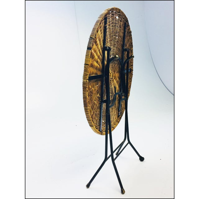 Mid Century Modern Wicker & Iron Round Folding Side Table For Sale - Image 4 of 11
