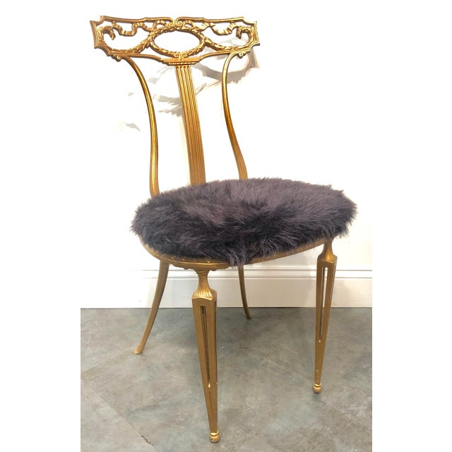 1950s Vintage Italian Neoclassical Style Gold Gilt Wrought Iron Accent Chair For Sale - Image 12 of 12