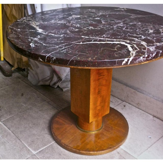 Art Deco Jules Leleu Signed Coffee Table With a Superb Marble Top For Sale - Image 3 of 6