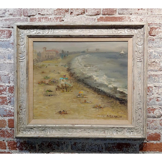 R. S. Karlin - Santa Monica Beach - 1960s Mid Century Oil Painting Mid Century For Sale - Image 11 of 11