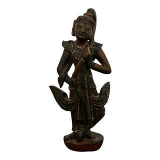 Vintage Thai Embellished Wood Buddha Table Sculpture For Sale
