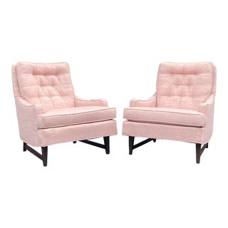 Mid Century Modern Pink Lounge Chairs - a Pair For Sale