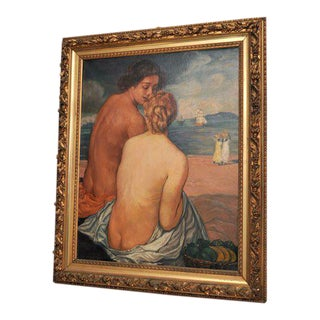 "Emile Bernard Post-Impressionist Oil on Canvas, ""Nus de Dos"""