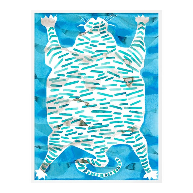Tiger Rug Turquoise by Kate Roebuck in White Framed Paper, Small Art Print For Sale