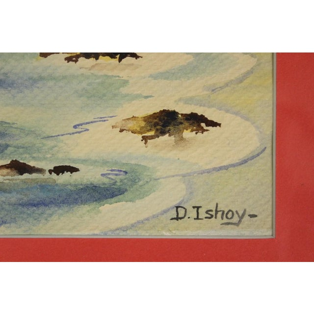 Classic watercolor of an island lighthouse signed D. Ishoy (LR)!