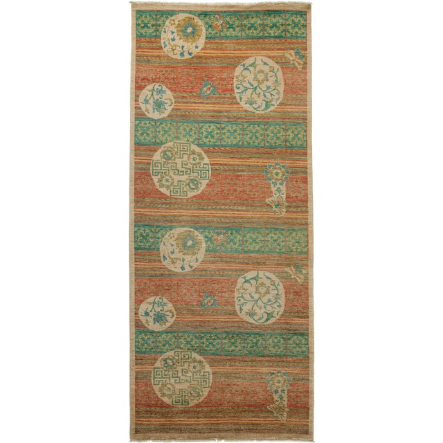 "Arts & Crafts Hand Knotted Runner - 4'2"" X 9'8"" For Sale"