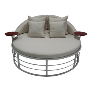Yacht Collection Outdoor Round Aluminum Day Bed by Artist Hector Landgrave For Sale
