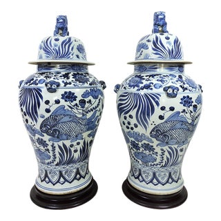 Large Vintage Chinese Blue & White Nanking Ginger Jars / Soldier Vases / Floor Urns & Stands - a Pair For Sale