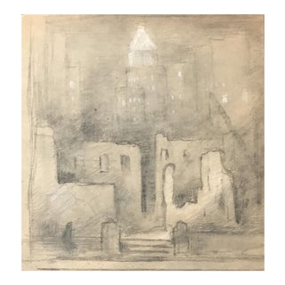 Eliot Clark Construction of the Guggenheim Museum Drawing