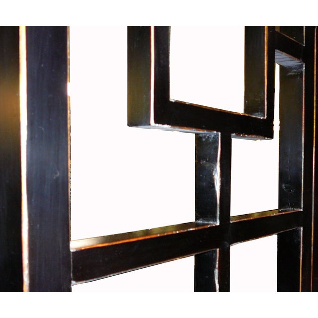 Fusion Black Lacquer Open Panel Screen Headboard - Image 4 of 4