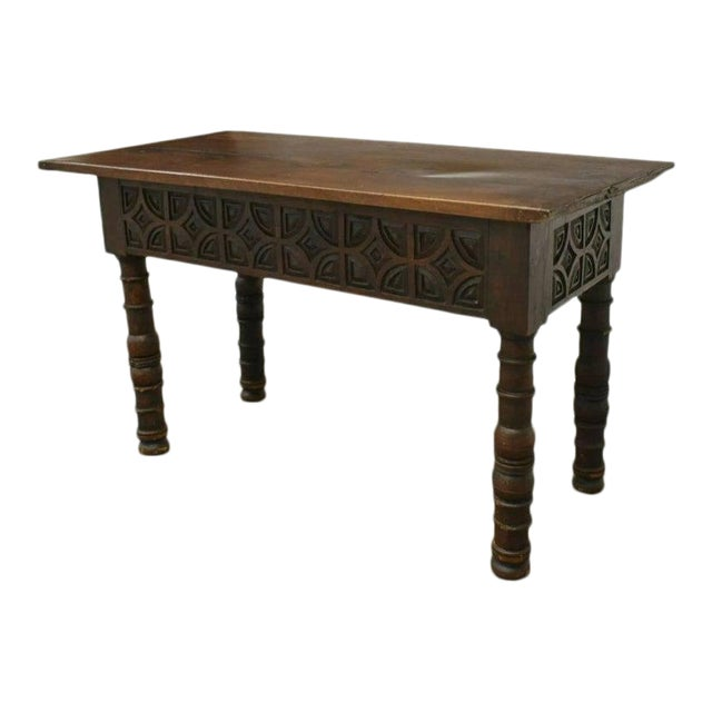 Rustic 18th Century Spanish Baroque Period Carved Walnut Table For Sale