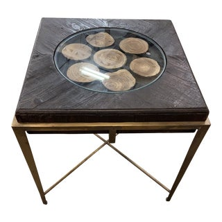 Uttermost Wood Disc Side Table For Sale